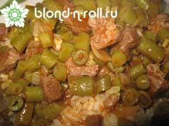 Арабское блюдо из зеленой фасоли