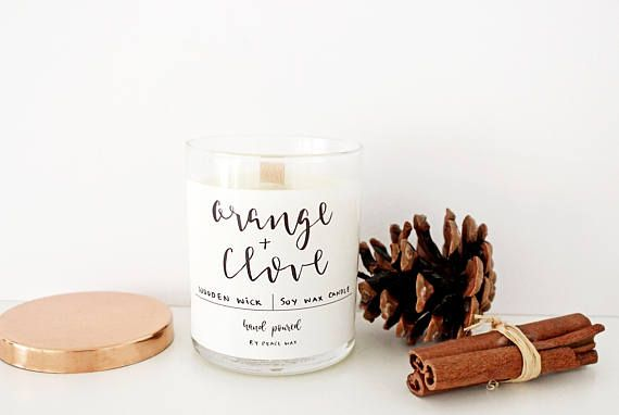 Soy Wax Candle Orange and Clove Natural Wax Christmas Spiced