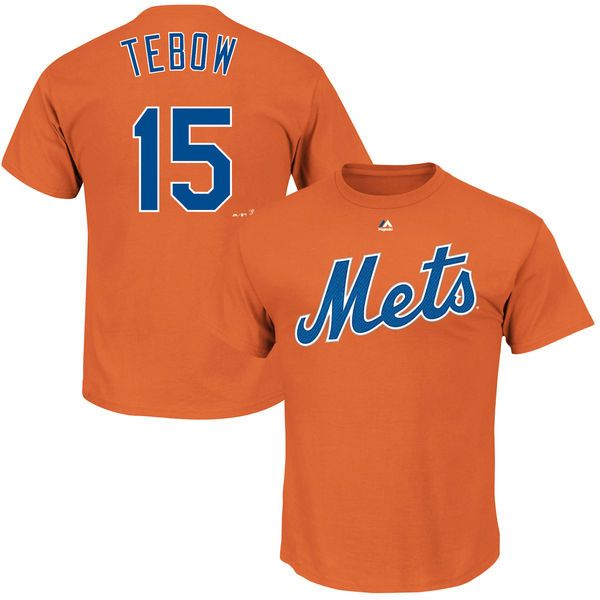 Tim Tebow New York Mets Majestic Official Name & Number T-Shirt - Orange…
