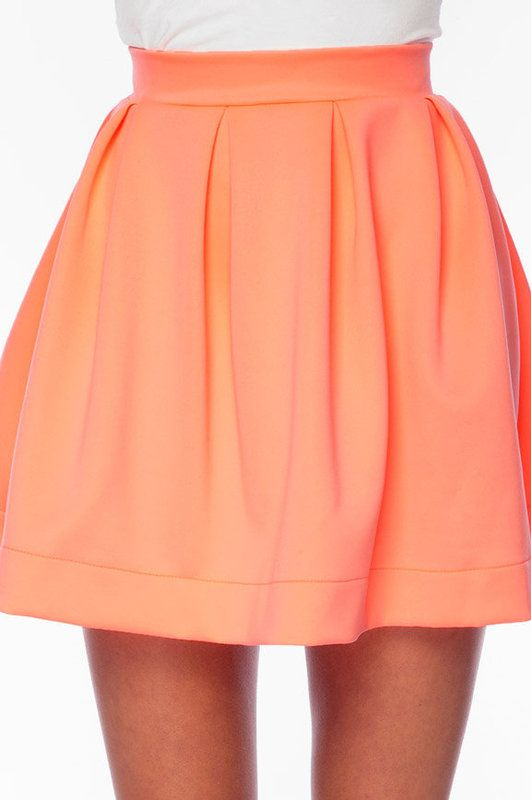 Orange Skirts, Tobys Clothes, Fashion Clothes, Flamingos Skirts, Skater Skirts, Peaches Pleated, Coral Skirts, Pleated Skirts, Orange Clothes Gameday