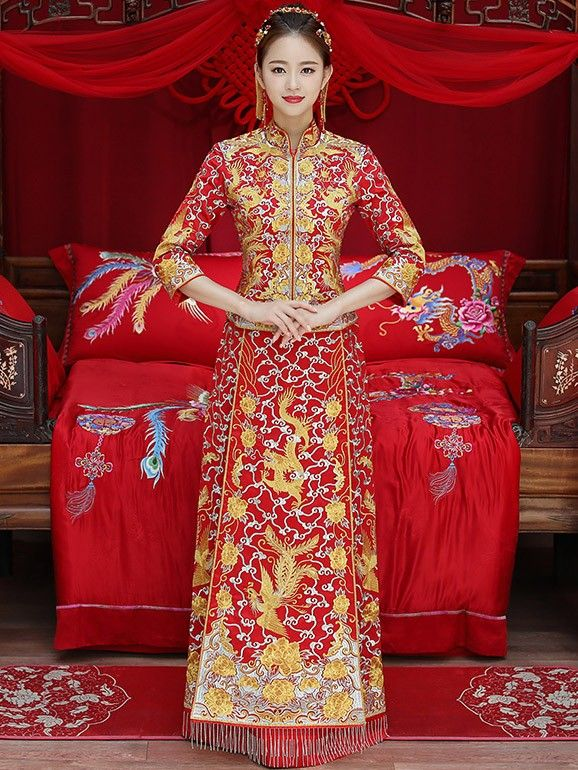679f418986f6 Wedding Qun Gua with Embroidered Phoenix & Dragon. Wedding Qun Gua with  Embroidered Phoenix & Dragon Traditional Chinese, Traditional Dresses,  Cheongsam,