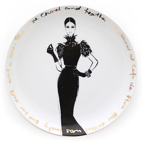 Megan Hess table top collection  Couture Show  Plate - she wore Chanel