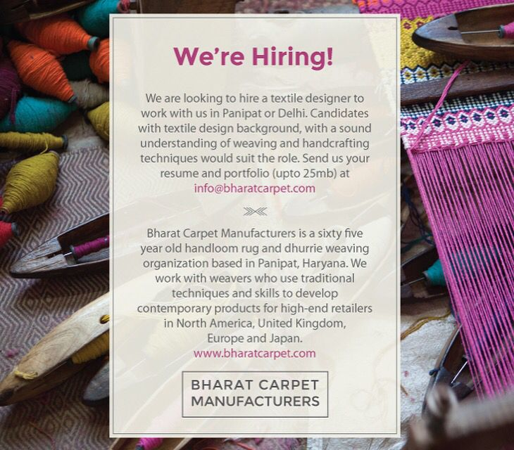 We're Looking for a Textile designer to join our design studio in panipat @Bharat carpet manufacturer   URL:- www.bharatcarpet.com Contact :- info@bharatcarpet.com  #weaving #weavingloom #weavingaustralia #weavingart #weavingworkshop #weavingclass #weavingstudio #weavingaddict #handmade #handcrafted #handmadewithlove #hiring #rugweaving #handwovenrug #handwoventextiles #job #jobs #textiles #textiledesign #textiledesigner #carpet