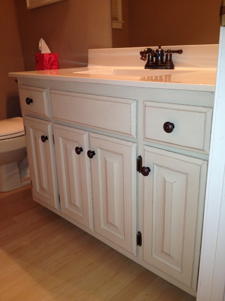 Our bathroom after painting 80s Honey Oak cabinets with Annie Sloan Chalk  Paint. (2