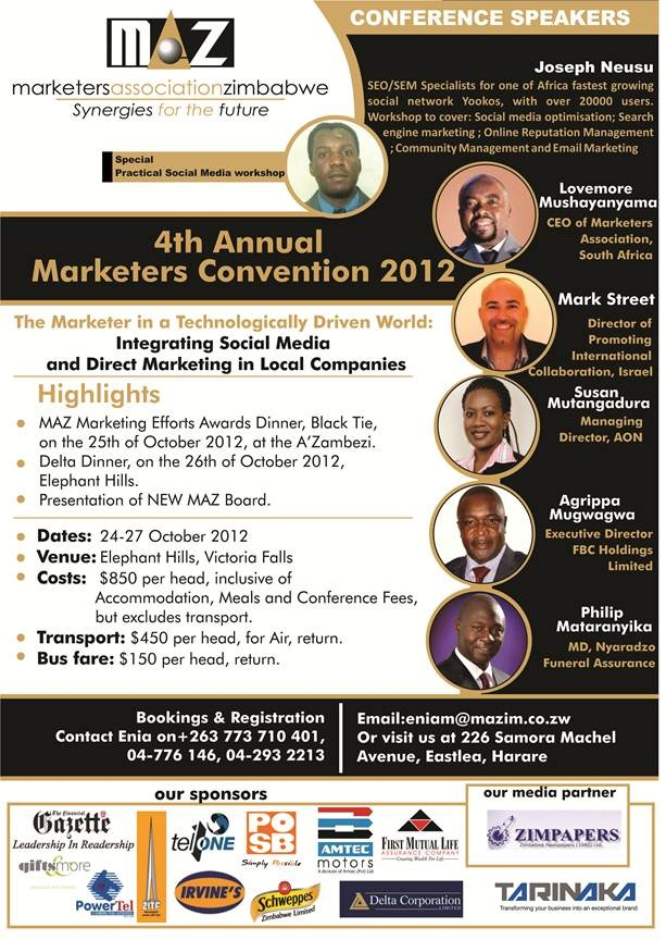 Join us #MarketerConvention from 25-27 October 2012 @ The Elephant Hills Hotel in Victoria Falls
