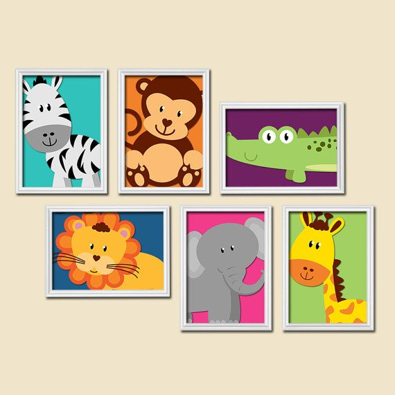 Safari animal wall art animal nursery artwork zoo for Kinderzimmer set baby