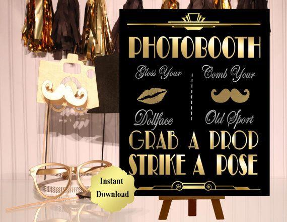 DRUCKBARE Photobooth Zeichen Gatsby Party von inkmebeautiful