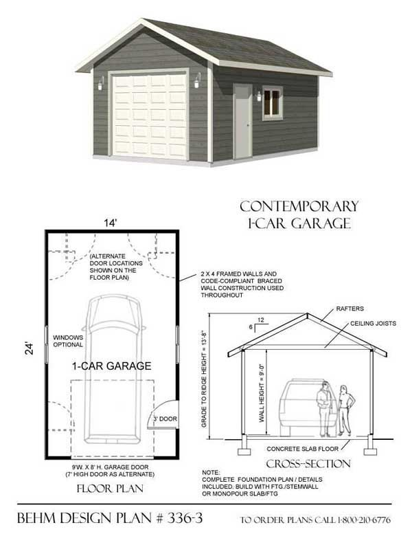 1 car garage plan no 336 3 by behm design 14 39 x 24 for Single car detached garage plans