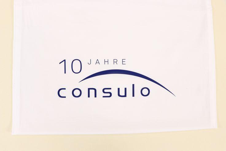 Tischdecke mit Tasche. Bedruckt für ein Jubiläum. 10 Jahre Consulo