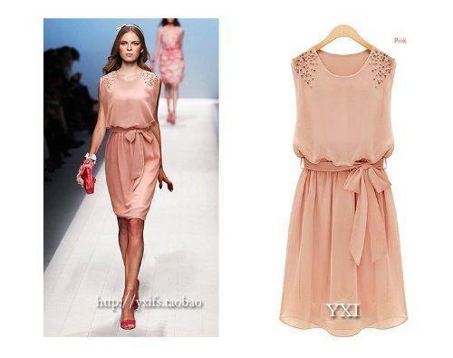 2013 New Style Evening Pink Womens Beach Summer Sleeveless Party Chiffon Dress (Dark pink) $18.99