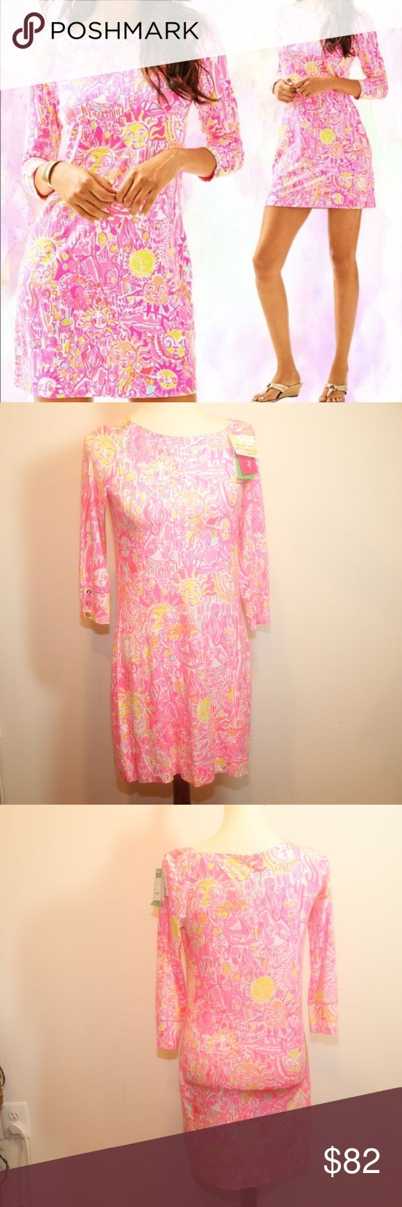 NWT Lilly Pulitzer Sophie Pink Pout Dress Sz S Gorgeous Pink & Yellow NWT Lilly Pulitzer Sophie Pink Pout Dress Sz S Printed Dress With Boat Neckline And Gold Button Detail At Shoulder And Cuff. Rayon Spandex Jersey - Printed (93% Rayon, 7% Lycra). Lilly Pulitzer Dresses Long Sleeve