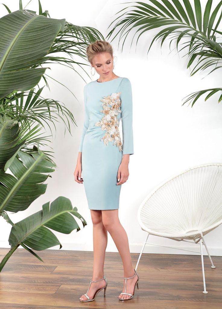 Vestidos de fiesta, vestidos para boda, Vestido azul island paradise aplicaciones flores