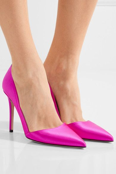 Heel measures approximately 100mm/ 4 inches Fuchsia satin Slips on Designer color: Candy Made in Italy