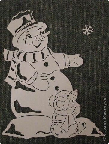 Картина панно рисунок Новый год Вырезание Снеговик с мышкой Бумага фото 2