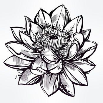 tatouage fleur: Vector set of hand drawn fleur de lotus. Lily motif, tatouage élément de design. concept art Bouquet. Isolated illustration de vecteur dans le style d'art en ligne.