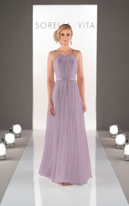Feminine and flirty sheath style bridesmaid dress from the Sorella Vita designer collection features a high illusion neckline in soft, flowy tulle.
