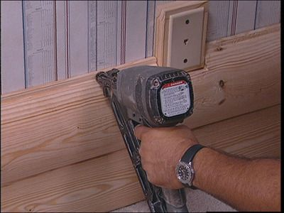 attach first log to wall