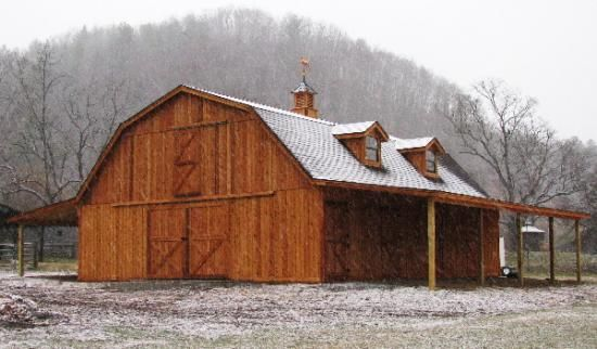 Quality gambrel roof pole barn plans woodworking for Gambrel barn plans with living quarters