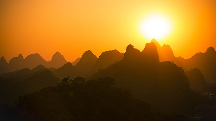 Sunset over the mountains  http://5kwallpapers.com/wall/sunset-over-the-mountains  #sunset #mountains #yellow #nature