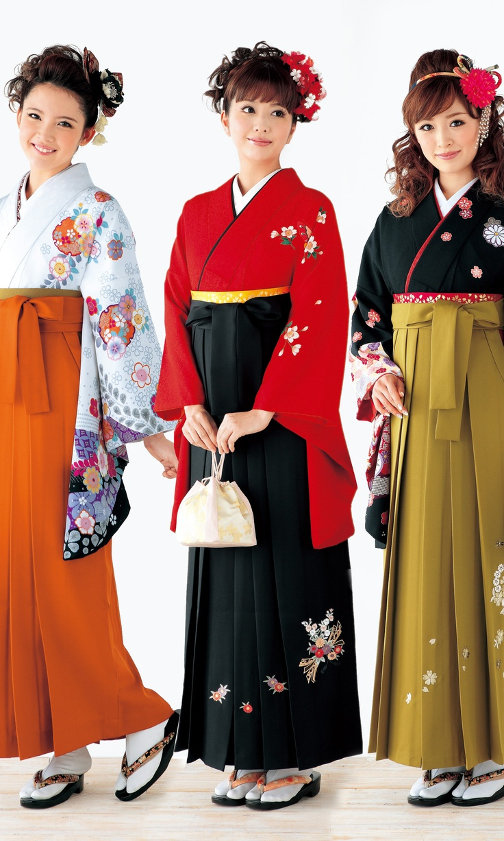 Japanese models as 'graduates' wearing hakama over kimono. Hakama are a type of traditional Japanese clothing. They were originally worn only by men, but today they are worn by both sexes. Hakama are tied at the waist and fall approximately to the ankles. Hakama are worn over a kimono (hakamashita).