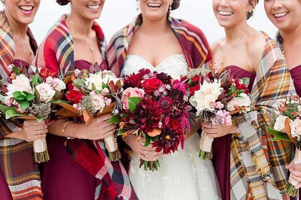 Winter Bridesmaids + Plaid Scarves