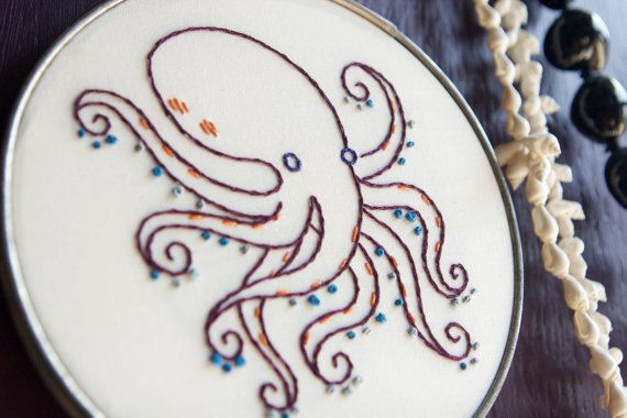Hand Embroidered Hoop Art Purple Octopus by sixfloorsup on Etsy, $45.00
