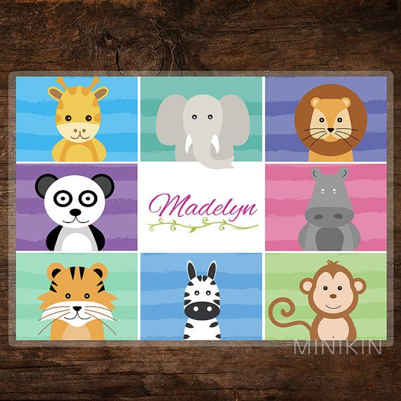 Kids Personalised Placemat  Jungle Place Mat  by MinikinGifts