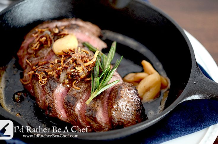 Five simple steps to achieve the perfect pan seared steak recipe. Rosemary, crispy shallots & roasted garlic too. Gluten Free & Paleo!