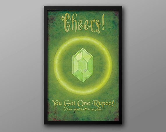 Legend of Zelda: Video Game Art // Green Rupee // Vintage Funny Gamer Achievement Poster // Glowing Green Inspired, Currency Artwork   – Posters