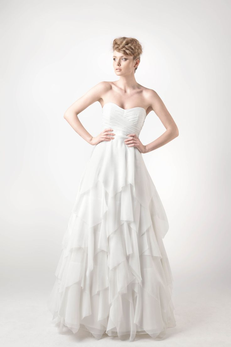 SADONI Collection 2014 - Dress SHANTAL - Fairy tale dress draped in fluide slik chiffon with leaf structured skirt
