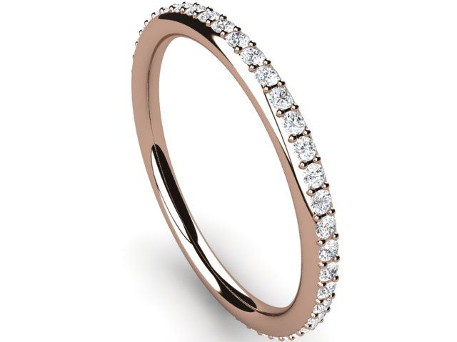 Full Eternity Diamond Ring round thin band 0.40ct Si2/H Rose Gold 18K Hallmarked - Paul Jewelry