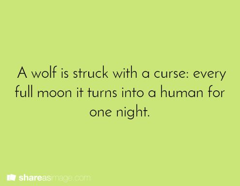 A wolf is struck with a curse: every full moon, it turns into a human for one night.