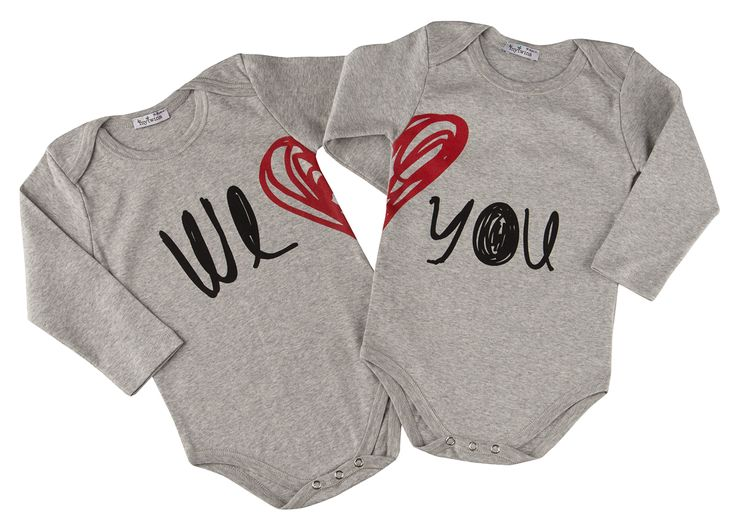 Baby onesies for twins with 'we love you' print! In mytwins collection!