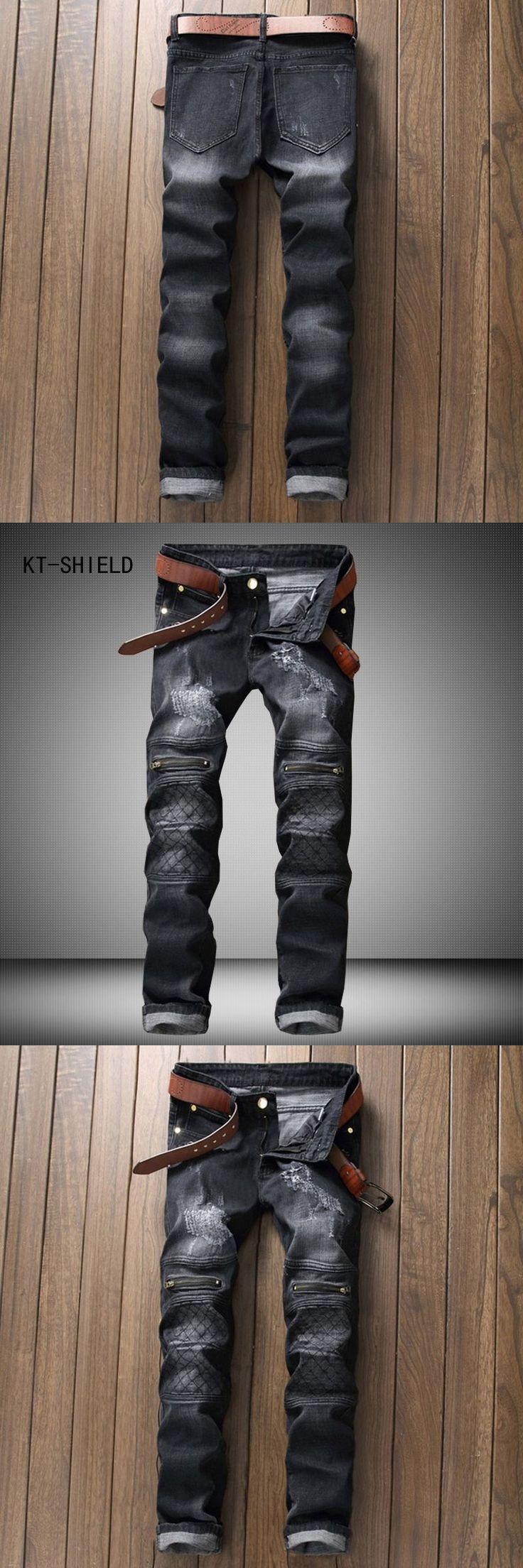 famous brand Men slim jeans homme mens Distressed Biker jeans hip hop pants man pencil pants Washed grey ripped jeans for men #mensjeansslim
