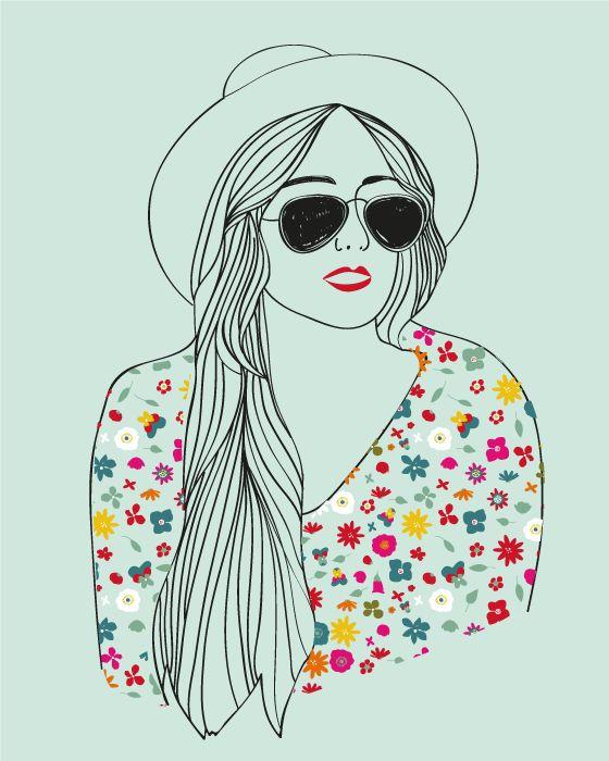 Hippie femme réalisé pour © Kési'art - Amélie Poirier http://poirieramelie.blogspot.fr