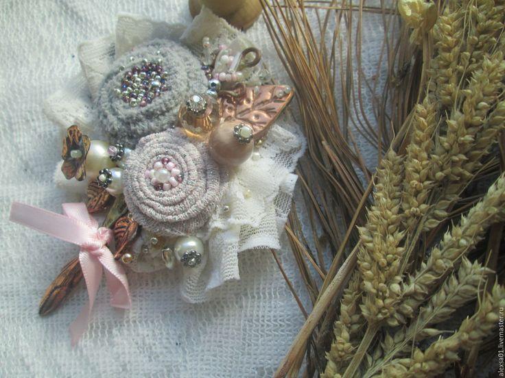 """Купить Брошь """"Розово-серый первоцвет"""" в интернет магазине на Ярмарке Мастеров"""