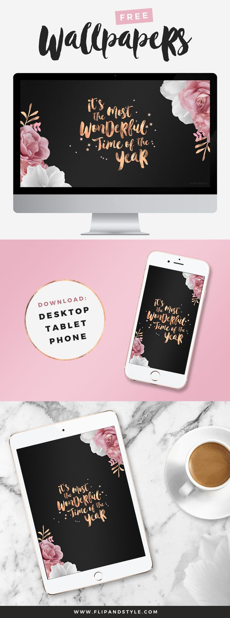 FREE rose gold festive wallpapers for you to download! Desktop, iPhone 7 Plus and iPad | www.flipandstyle.com