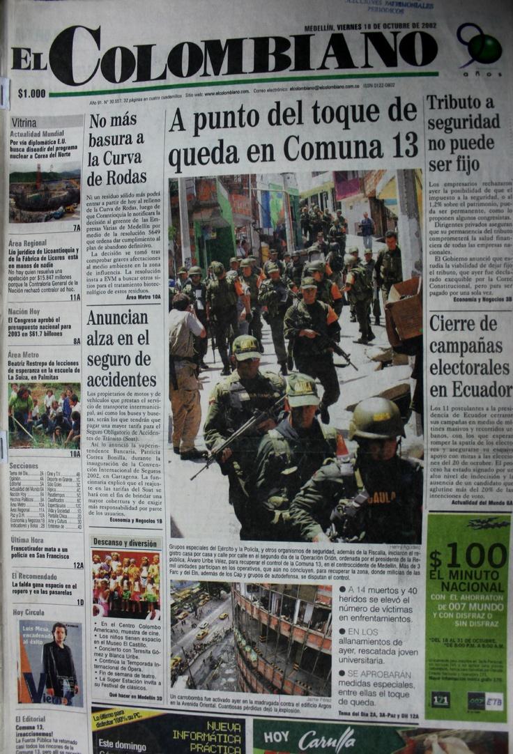 Primera página del periódico El Colombiano del 18 de octubre del 2002.