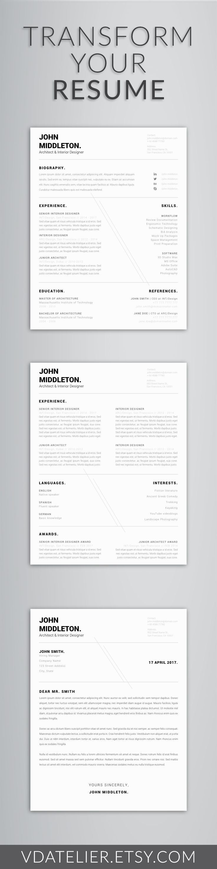 Professional Modern Resume Template for Word | Men Resume | Cover Letter, Curriculum Vitae | US Letter & A4 | 1,2 Page Resume