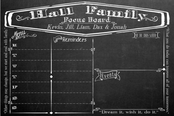 Family Organizational Focus Board   Large by KimbeesCreations