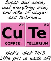 Sugar and Spice and Everything Nice and Lots of Copper and Tellurium that's what THIS little girl is made of funny science geek nerd elements periodic table t-shirt
