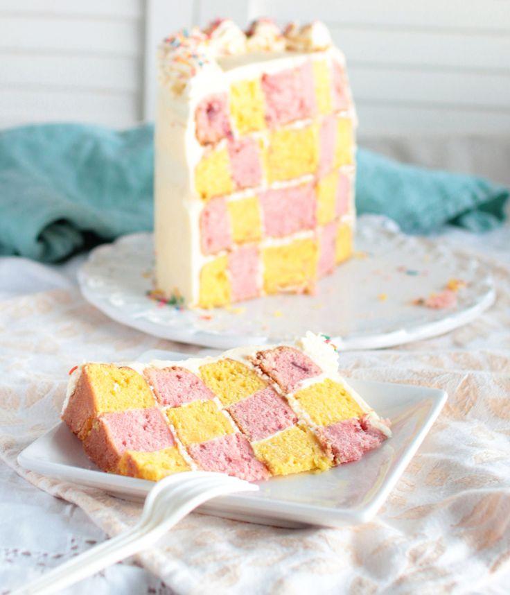 The Kiwi Cook   Lemon and Strawberry Checkerboard Cake   http://thekiwicook.com
