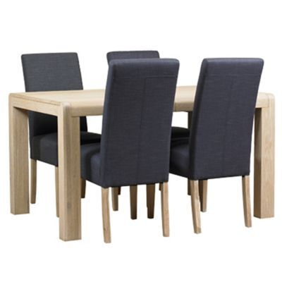 Debenhams Washed Oak Palma Large Extending Table And 4 Grey Fabric Chairs