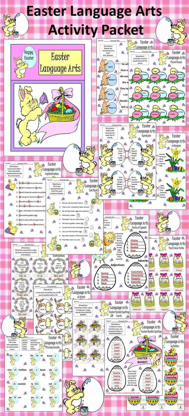 worksheet Fun Language Arts Worksheets 17 bilder om tpt language arts lessons pinterest common easter activity packet this colorful provides many exercises with a fun