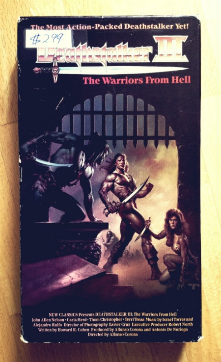 Deathstalker and the Warriors From Hell (1988). Read the review: http://videodrones.wordpress.com/2013/03/29/deathstalker-the-warriors-from-hell-1988-hunks-babes/