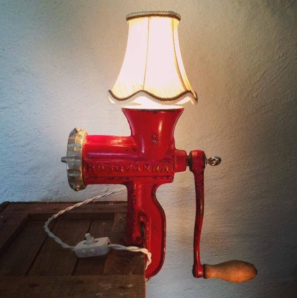 """Rusty Remakes Signature """"Lady in Red"""". Meat Grinder Lamp made from a red Husqvarna meat grinder size 8. More industrial lamps and vintage home decor at www.rustyremakes.com."""
