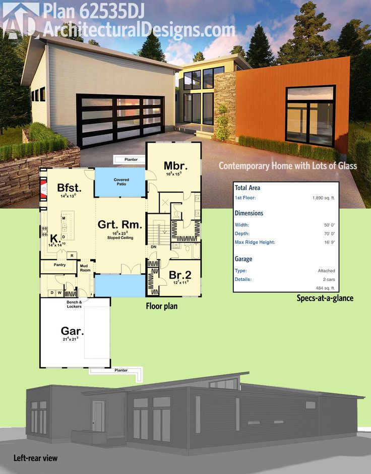 Architectural designs 2 bed modern house plan 62535dj gives you over 1800 square feet of heated