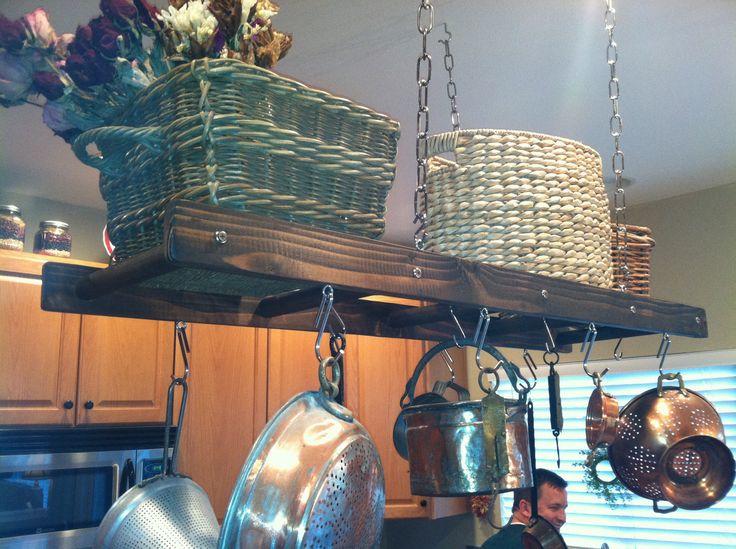 Rustic Ladder Pot Rack. $85.00, via Etsy.