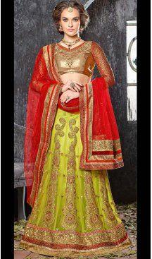 Parrot Green Color Jacquard Silk A Line Style Lehenga Choli | FH586586338
