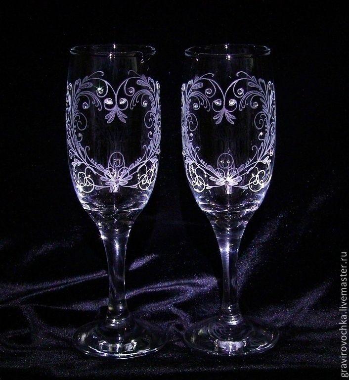 Купить Свадебные бокалы гравировка Сердца - белый, гравировка по стеклу, гравировка, стразы, свадебные бокалы